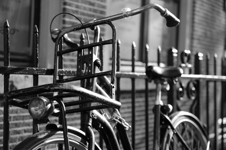 Architecture Bicycle Bicycle Basket Blackandwhite City Close-up Day Focus On Foreground Handle Handlebar In A Row Land Vehicle Metal Mode Of Transportation No People Outdoors Parking Rack Selective Focus Stationary Transportation EyeEmNewHere Holiday Moments