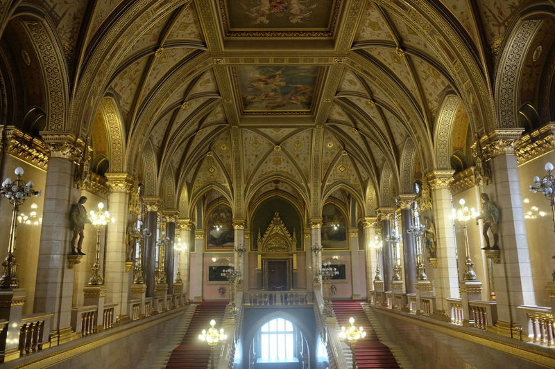 Entrance Lobby, Hungarian houses of Parliament, based on London Houses of Parliament, Neo-Gothis Style, (designed by Imre Steindl, built 1885 - 1862) Budapest Composition Hungary Parliament Building Tourist Attraction  Arch Architectural Columns Architecture Building Interior Built Structure Full Frame Full Frame Shot Gold Coloured History Houses Of Parliament Illuminated Indoor Photography Neo Gothic Architecture No People Ornate Decoration Parliament Tourism Travel Destination