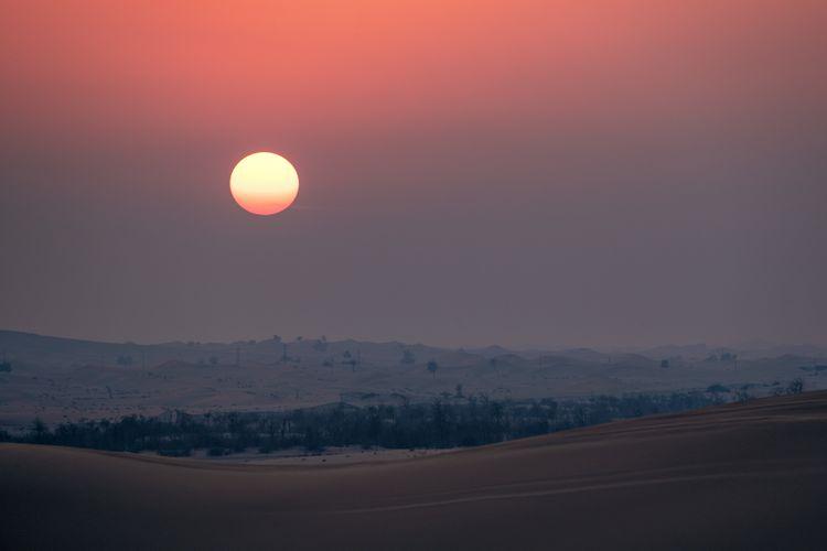 Sky Sunset Landscape Idyllic Outdoors Sun Desert Sand Sand Dune Sand Dunes Red Color Arid Climate Climate Sunset In Desert