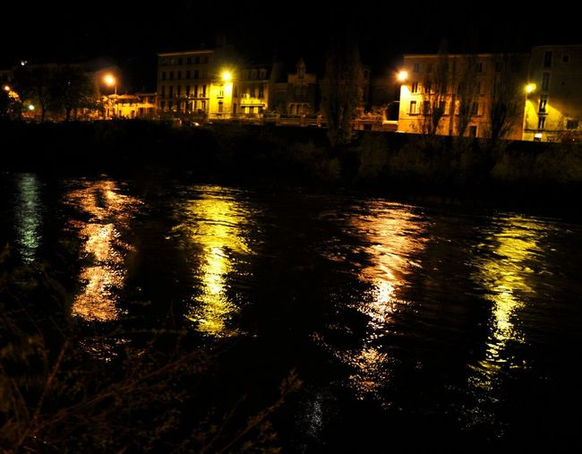 Grenoble Night Colors Water Reflections