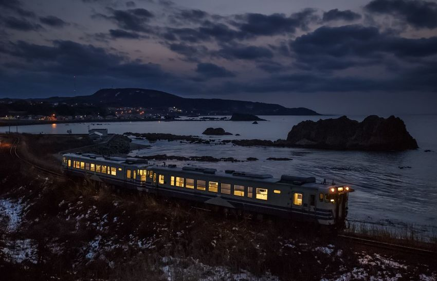 Winter Sea Train Landscape Light Night Japan Blue Night Photography Nightphotography