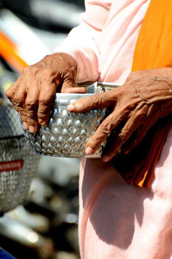 Hands Monkeys Alms Giving Burma Cash Giving Nun Prayer