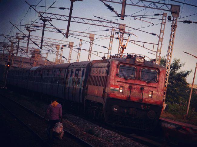 Public Transportation Train - Vehicle Railroad Track Rail Transportation Land Vehicle Sky Power Line  Passenger Train