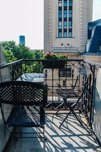 France Paris Balcony Building Exterior Architecture Built Structure Plant Seat Building Table Chair Day No People Residential District Window