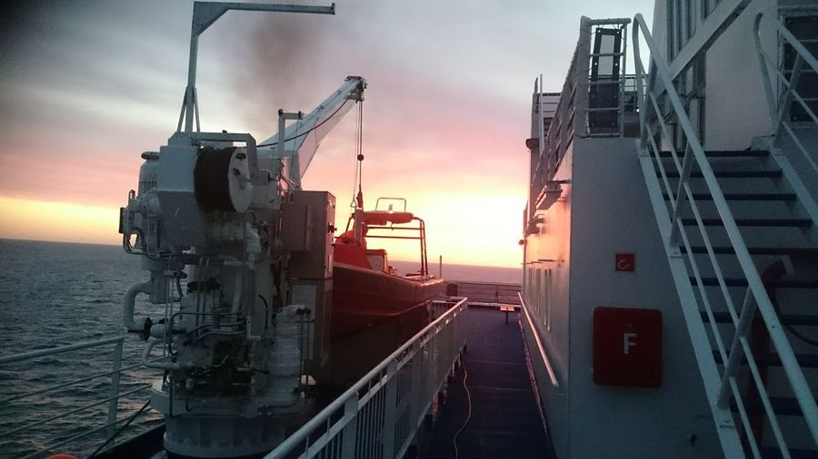 northsea , between IJmuiden and Newcastle An Eye For Travel Sunset Freight Transportation Industry Business Finance And Industry Transportation No People Sky