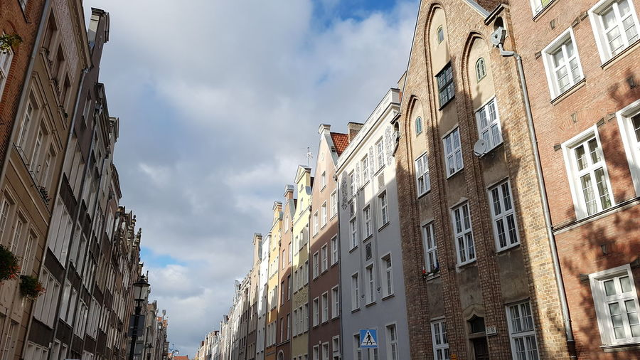 Low angle view of residential buildings against sky