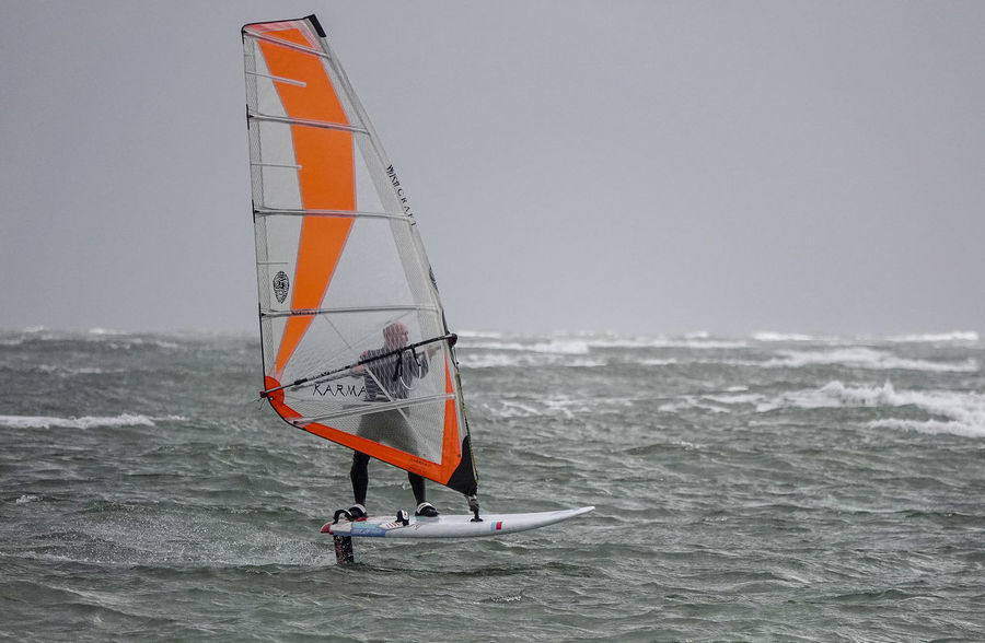 A professional windsurfer testing the latest hydrofoiling board off Hayling Island in Hampshire, UK. Hayling Island  Windfoil Windfoiling Adventure Aquatic Sport Beauty In Nature Day England Hampshire  Hants Horizon Horizon Over Water Hydrofoil Hydrofoiling Nature Outdoors Sailing Sea Sky Sport Water Waterfront Watersports Windsurf Windsurfing