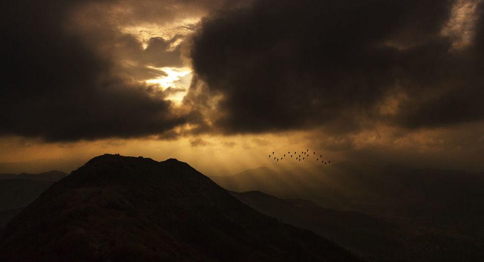 Dark Serenity Black Mountain Cloudscape Morning Light Beauty In Nature Bird In Flight Black Clouds Cloud - Sky Flying Flying Bird Landscape Magical Moments Mountain Nature Outdoors Rays Of Sunlight Scenics Silhouette Sky Sunrise Sunset Yellow Sky
