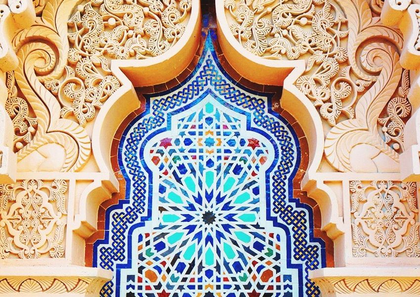 Design Indoors  Multi Colored Ornate Pattern Directly Above Full Frame Close-up Architecture Architectural Feature Mosque Creativity Architectural Design Gold Wallpaper Gilded Designed Architecture And Art Vibrant Color Golden