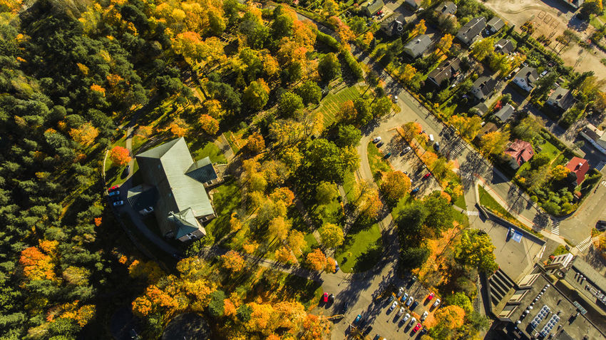 Aerial View Architecture Autumn Autumn Colors Built Structure Church Cityscape Curvy Road Empty Road High Angle View Hill House Instagood Nature No People Old Church Outdoors Photooftheday Tree Trees