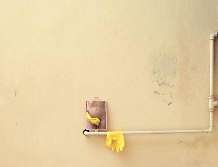 Toy car on wall