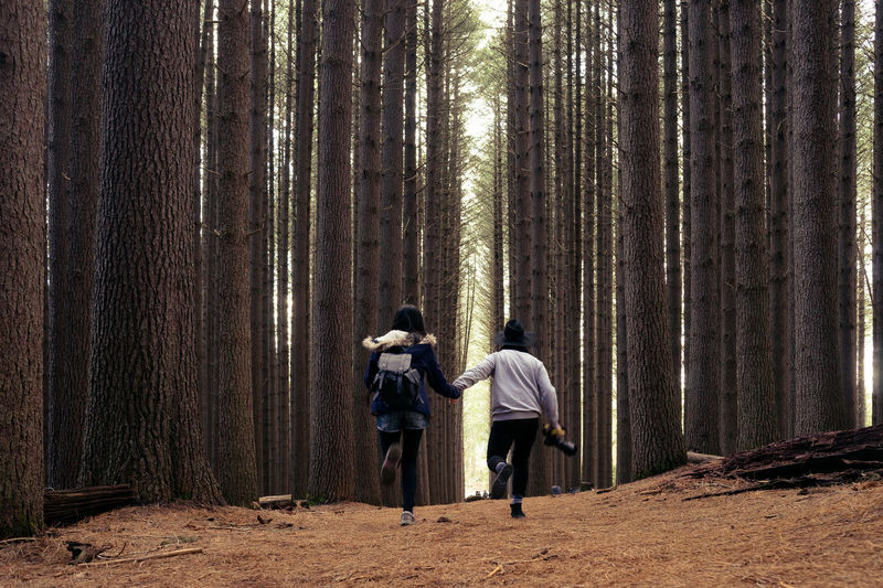 Rear View Of Couple Running In Forest
