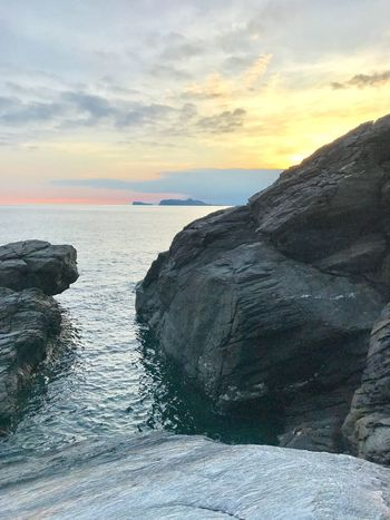 Autumn Sunset Colours Beautiful Sea Scenics Sky Sunset Water Beauty In Nature Nature Tranquil Scene Tranquility Cloud - Sky Horizon Over Water Idyllic Rock - Object Rock No People Outdoors Day The Week On EyeEm Oseto Japan