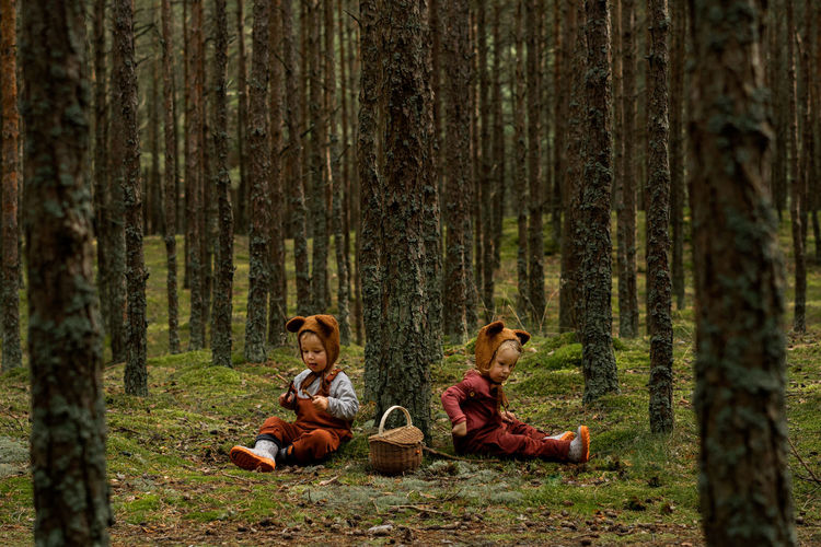 Toddler baby twins in bear bonnets sitting in the woods