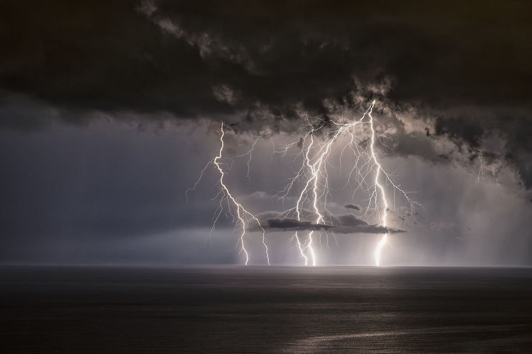 Storm Beauty In Nature Cloud - Sky Dramatic Sky Forked Lightning Horizon Horizon Over Water Light Lightning Nature Night No People Ominous Outdoors Power Power In Nature Scenics - Nature Sea Sky Storm Storm Cloud Thunderstorm Warning Sign Water