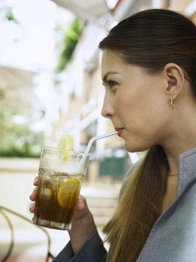 Businesswoman Having Drink