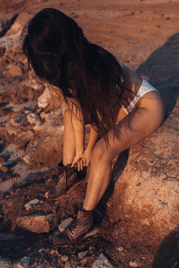 Golden Hour Editorial  Nature Brunette Combat Boots Golden EyeEm Selects Sand Nature Sunlight Outdoors