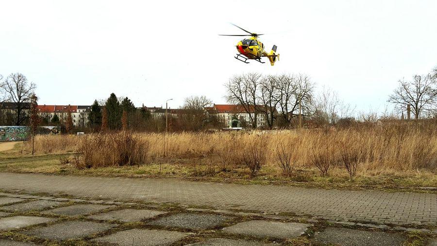 Rettungshubschrauber im LandeanflugIn Anger Air Vehicle Leipzig ADAC Notarzt