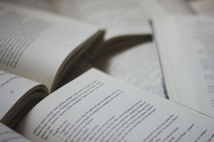 Close-up of books on book