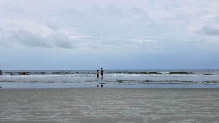 Sister And Brother. Boy & Girl Girl & Boy Siblings Beach Hilton Head Island, SC Hilton Head Island Hilton Head SC Two People Neutral Colors Backgrounds Kids Reflection Cloud - Sky Sand Sky Tranquility Landscape Talking Communicating  Horizon Over Water Scenics Ocean