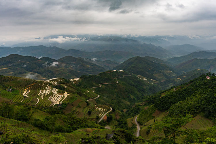 Cloud - Sky Ha Giang, Vietnam High Angle View Hà Giang Landscape Landscape_photography Mountain Nature Patchwork Landscape Rice Paddy South East Asia Terraced Field Tranquil Scene Viet Nam Vietnam