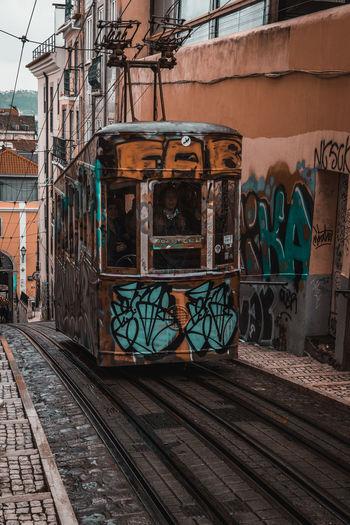 Graffiti on railroad tracks by building
