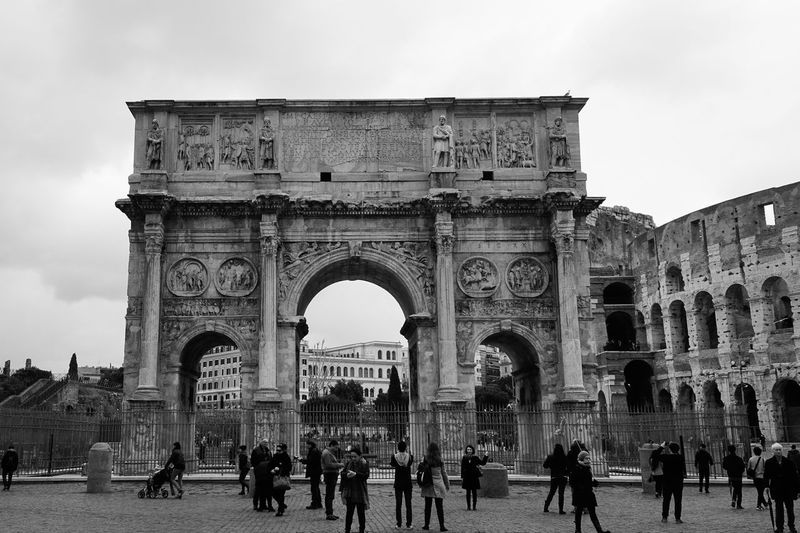 B&W. Constantine Arch and Coliseum. Cloud day in Rome, Italy. Coliseum Coliseum Rome Constantino Architecture Sony Sonyalpha Sony A6000 Photographer Photo Photography EyeEm Selects EyeEm Best Shots Italy Blackandwhite Photography Blackandwhite Constantine Arch Constantine City Triumphal Arch History Arch Architecture Built Structure City Gate Amphitheater Roma Roman Ancient Rome Monument Ancient
