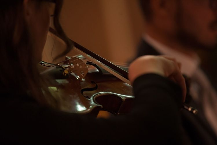 Close-up of woman holding violin