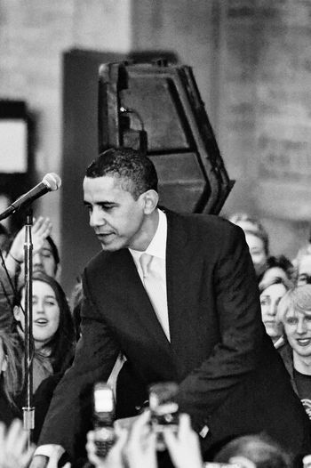 Barack Obama Black & White Obama Obama 2008 Speech Adult Adults Only Barackobama Black And White Black And White Photography Black&white Blackandwhite Blackandwhite Photography Blackandwhitephotography Campaign Rally Campaign Speech Classical Music Day Indoors  Men Music Musician People Presidential Campaign 2008 Presidential Election Real People Street Photography Streetphotography Stump Speech Two People Young Adult