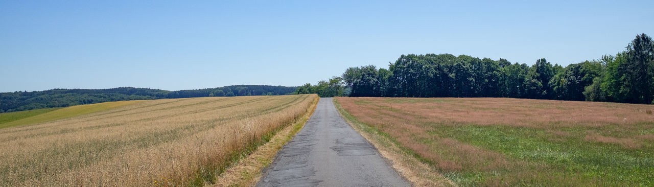 Dirt road amidst field against clear sky