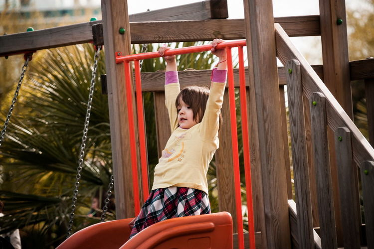 Girl playing at playground