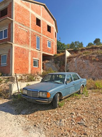 Balcan vibe with vintige car Vibe Balcan Auto Car Vintage Old Site Construction Building House Building Exterior Built Structure Car Residential Building Architecture Day No People Outdoors Blue Clear Sky Sky
