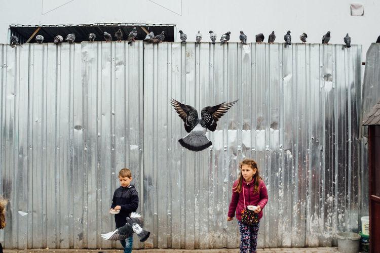 Full length of children flying against wall