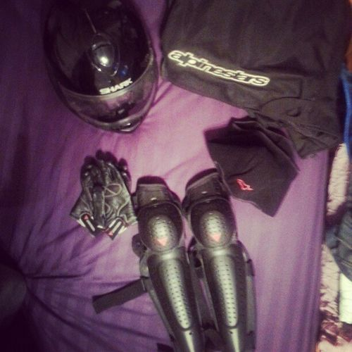 Time to Gear up for my Night Ride Dainese gloves & knees Protection , AlpineStars saftey jacket & helmet mask , last but nt least Shark evoline series2 helmet Bikerboy Bikers Bikes instaGood InstaBikes InstaBilers ♥