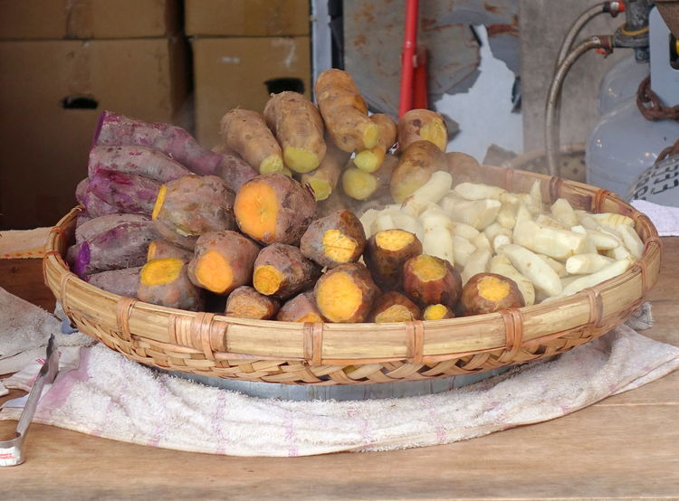 Steamed yams and taro roots for sale Chinese Food Basket Food Healthy Eating Market Steamed  Sweet Potatoes Taro Vegetable Wicker Basket Yams