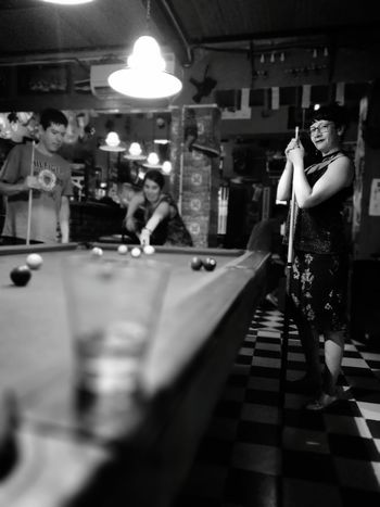 Young Women Arts Culture And Entertainment Leisure Activity Bar Night Club Indoors  Pool Table