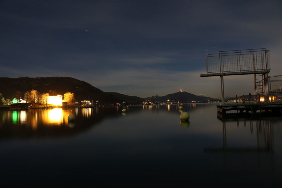 By night Austria Kärnten Carinthia See Lake Wörthersee Landscape Fotografie Photooftheday Photography Nature Photography Landscape_photography Landscape #Nature #photography Licht Night Nightphotography Nacht Stars Sterne  Night Illuminated Arts Culture And Entertainment Reflection Water Outdoors City Architecture Sky No People EyeEm Ready   EyeEm Ready