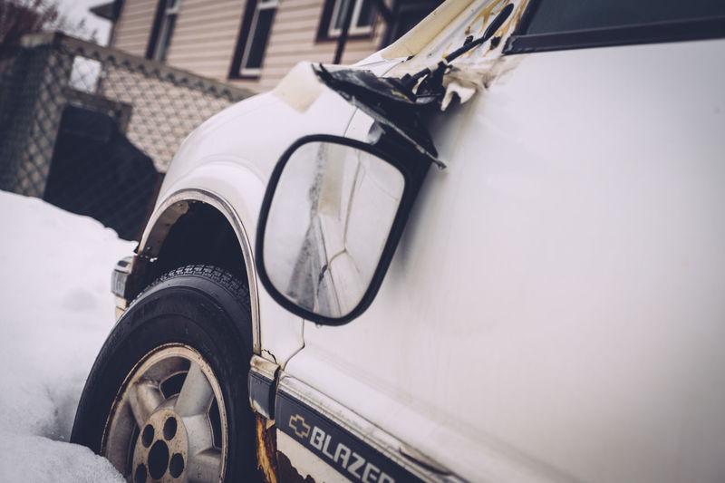 Angled View Broken Mirror Broken Vehicle Close-up Day Low Angle View No People Old Van Outdoors Side Mirror Van