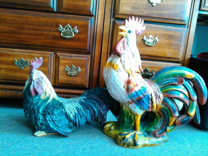 Chickens Impressive Cocks Statues Folk Art  Country My Cock