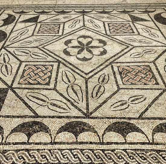 Mosaic Pattern Full Frame Design Art And Craft Architecture Flooring Creativity Shape Tiled Floor The Past Geometric Shape History Floral Pattern Wall - Building Feature Mural Ornate Mosaic Roman Numeral Roman Empire