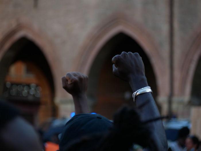Black lives matter in bologna, italy.