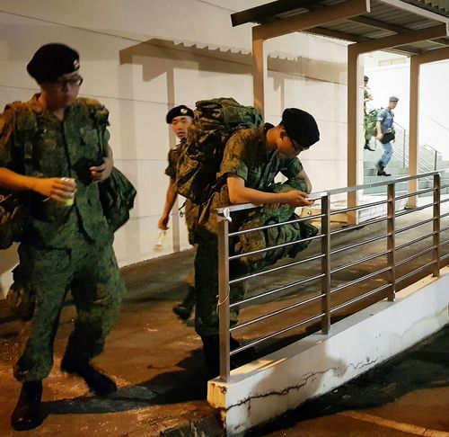 My Son (far right in blue) Streetphotography Sg_streetphotography Graduation Basic Military Training Singapore Army Sept 2017 Singapore