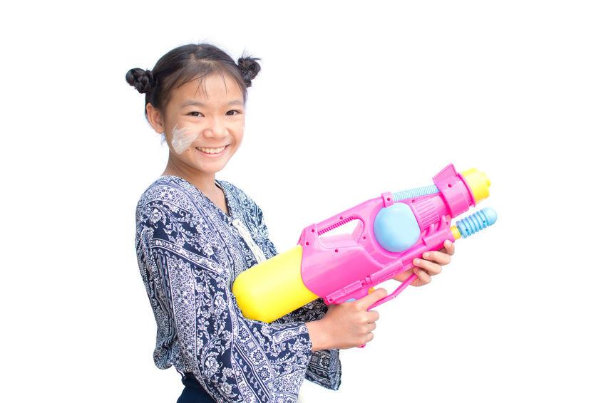 Asian  Fun Happiness Songkran Festival Thailand Cute Girl Joy On White Background Playing Summer Water Gun