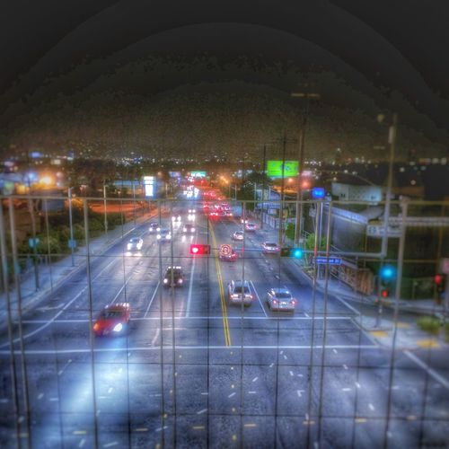 La Cienega over pass looking towards the Hollywood hills. Losangeles Metro Station Night Photography