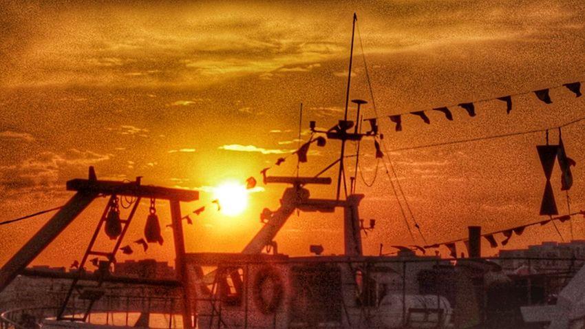 Marine boat sunset