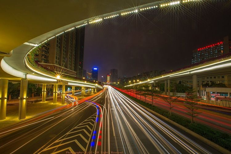 Light Trail Illuminated Speed Night Long Exposure Transportation Architecture Traffic Motion City City Life Built Structure Road Building Exterior Outdoors Bridge - Man Made Structure No People Street Light Cityscape Modern 好心情(1)