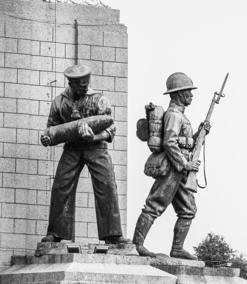 Architecture Art Art And Craft Building Exterior Built Structure Clear Sky Creativity Day Full Length Human Representation Low Angle View Men Military Outdoors Remembrance Sailor Sculpture Soldier Statue Victory Monument WWII