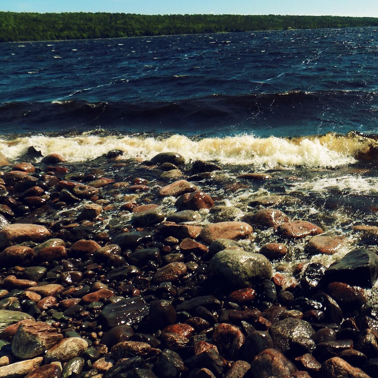 sea, beach, shore, water, pebble, no people, wave, nature, pebble beach, outdoors, day, beauty in nature, horizon over water, close-up