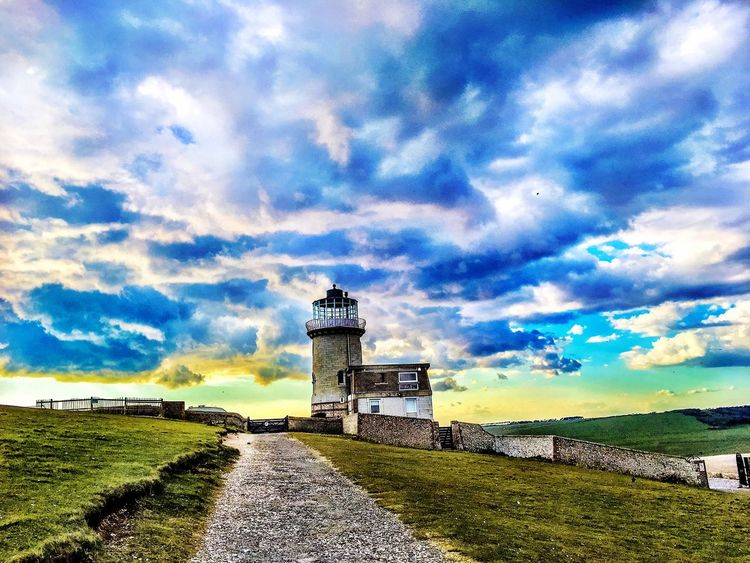 Lighthouse Afternoonwalk Beachyhead CliffEdge Sunnyafternoon Clouds Sun Cliff Grass Pathway Iphonephotography