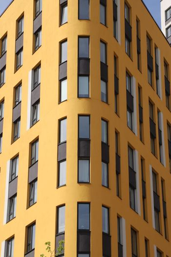 Window Architecture Built Structure Building Exterior Building Full Frame Yellow In A Row Residential District Sunlight No People Low Angle View Sky Backgrounds Outdoors City Day Pattern Repetition Glass - Material